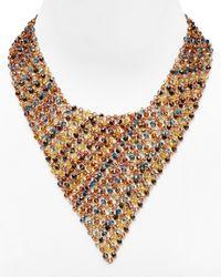 ABS By Allen Schwartz - Pink Beaded Bib Necklace 16 - Lyst