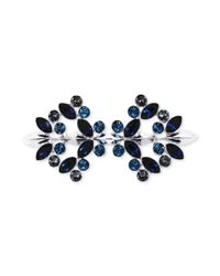 Givenchy | Metallic Silvertone Swarovski Montana Sapphire And Black Diamond Crystal Pin | Lyst
