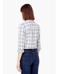 Mango - Blue Check Cotton Shirt - Lyst