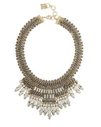BCBGMAXAZRIA | Metallic Baguette Stone Statement Necklace | Lyst
