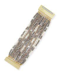 Nakamol | Gray Multi-strand Pearl & Crystal Bracelet | Lyst