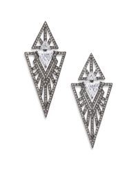 Adriana Orsini | Metallic Deco Pavé Triangle Large Drop Earrings | Lyst