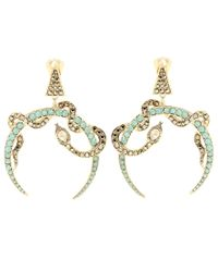 Roberto Cavalli   Metallic Swarovski Crystal-embellished Clip-on Earrings   Lyst
