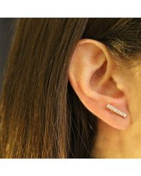 Adornia   Diamond And Yellow Gold Vermeil Barra Bar Stud Earrings   Lyst