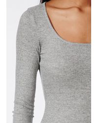 Missguided - Gray Ribbed Bodycon Midi Dress Grey - Lyst