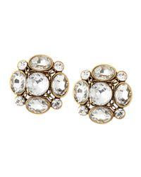 Oscar de la Renta | Yellow Crystal Flower Button Clip Earrings Clear | Lyst