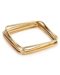 ABS By Allen Schwartz | Metallic Square Bangles, Set Of Six | Lyst