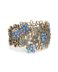 Oscar de la Renta | Multicolor Crystal Flower Bracelet | Lyst
