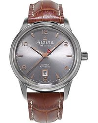 Alpina | Metallic Al-525vg4e6 Alpiner Stainless Steel And Leather Watch for Men | Lyst