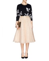 Alice + Olivia | Natural 'rina' Strass Bead Tulle Skirt | Lyst