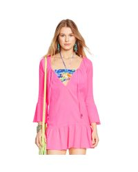 Polo Ralph Lauren - Pink Ruffled Cotton Tunic - Lyst