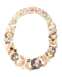 Marc By Marc Jacobs | Metallic Katie Embellished Metal Turnlock Necklace Rose Golden | Lyst