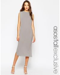 ASOS | Gray Tall Tunic Dress With Side Splits | Lyst