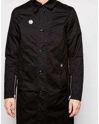 G-Star RAW | Black Beraw Trench Coat Tore James Stretch Twill Biker Detail for Men | Lyst