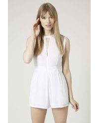 TOPSHOP - White Sami Playsuit By Motel - Lyst