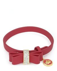 Juicy Couture | Red Leather Bow Bracelet | Lyst