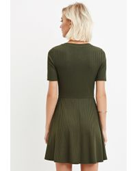 Forever 21 - Green Ribbed Knit Skater Dress - Lyst
