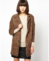 Helene Berman | Brown Classic Car Coat in Textured Wool Mix | Lyst