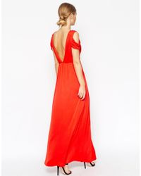 ASOS | Red Wedding Drape Cold Shoulder Maxi Dress | Lyst