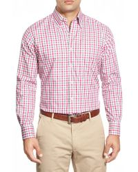 Peter Millar | Pink Melange Tattersall Regular Fit Long Sleeve Sport Shirt for Men | Lyst