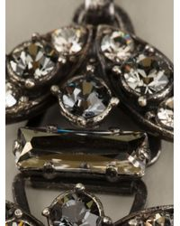 Lanvin - Black Crystal Ribbon Necklace - Lyst