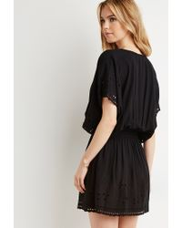 Forever 21 | Black Smocked Floral Eyelet Dress | Lyst