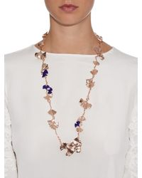 Aurelie Bidermann | Pink Ginkgo Lacquered Rose-gold Plated Necklace | Lyst