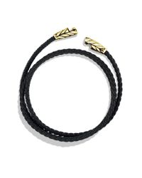 David Yurman | Chevron Triplewrap Bracelet in Black Leather for Men | Lyst
