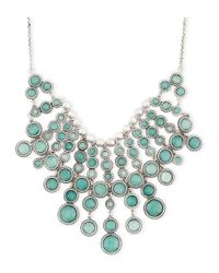 Lucky Brand | Silver Tone Green Statement Necklace | Lyst