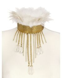 Stefano De Lellis | Metallic Ostrich Feather Rigid Brass Necklace | Lyst