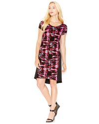 Kensie | Red Printed Contrast Dress | Lyst