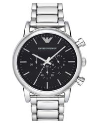 Emporio Armani - Metallic Chronograph Watch for Men - Lyst