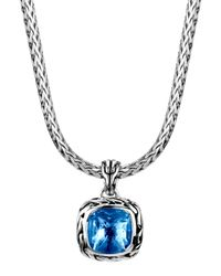 John Hardy | Batu Classic Chain London Blue Topaz Pendant Necklace | Lyst