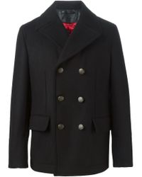 Dolce & Gabbana - Black Double Breasted Peacoat for Men - Lyst