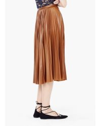 Mango - Brown Pleated Midi Skirt - Lyst