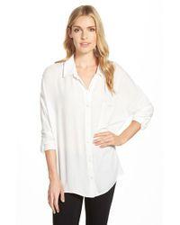 Bobeau - White Oversized Roll Sleeve One Pocket Shirt - Lyst
