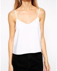ASOS - White Cropped Woven Cami Top 2 Pack Save 20% - Lyst