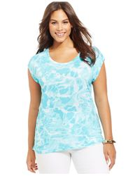 Michael Kors | Blue Michael Plus Size Short-Sleeve Printed Top | Lyst