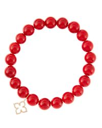 Sydney Evan | 8Mm Red Coral Beaded Bracelet With 14K Gold/Diamond Small Moroccan Flower Charm (Made To Order) | Lyst