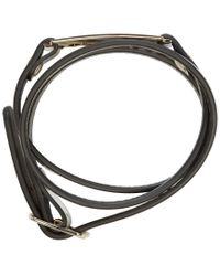 McQ | Metallic Silver Leather Wrap Razor Bracelet | Lyst