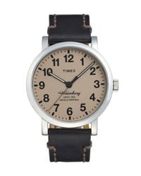 Timex - Black 'waterbury' Leather Strap Watch - Lyst