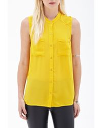 Forever 21 | Yellow Crepe Woven Sleeveless Blouse | Lyst