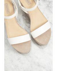 Forever 21 | Natural Faux Suede Flatform Sandals | Lyst