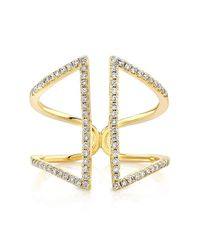 Anne Sisteron | 14kt Yellow Gold Diamond Double Bar Angled Ring | Lyst