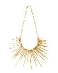 Pluma | Metallic Sunburst Golden Brass Necklace | Lyst