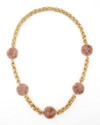 Devon Leigh | Metallic Pink Sunstone Station Necklace | Lyst