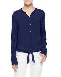 Splendid - Blue Long-sleeve Tie-front Button Blouse - Lyst