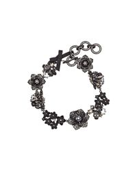 Betsey Johnson - Blackout Flowers Frontal Necklace - Lyst