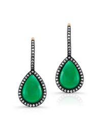 Anne Sisteron - 14kt Yellow Gold Green Agate Diamond Rosecut Earrings - Lyst