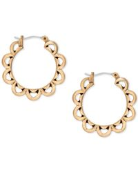 Lucky Brand - Metallic Gold-tone Floral Hoop Earrings - Lyst